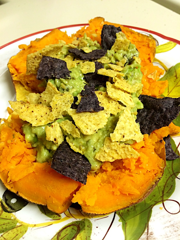 Shown here with homemade guacamole* and crushed tortilla chips. Also try black beans, peppers, and cheese.