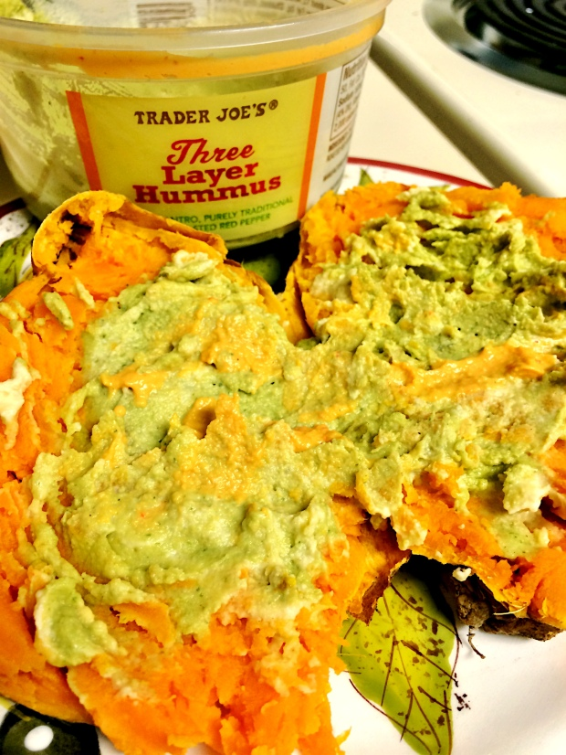 Shown here with one of my favorite hummuses (...hummi?), TJ Three Layer Hummus - it has roasted red pepper, traditional, and cilantro. Also great with fresh veggies and pita chips!