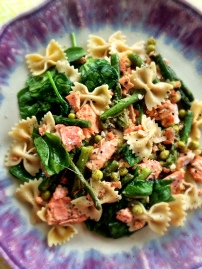 Salmon Farfalle with White Wine Sauce
